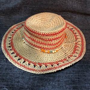 Accessories - Tan and orange straw hat